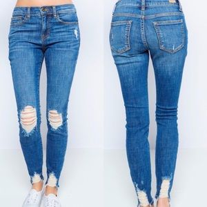 Denim - Mid Rise Skinny Jeans with Distressed Knee and Hem